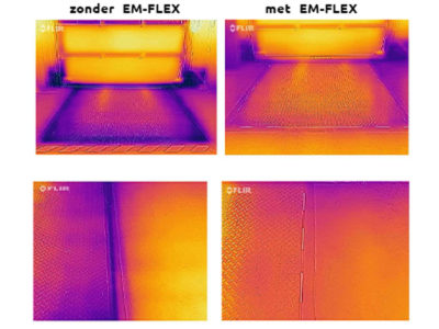Heat image with and without EM-FLEX gap seal.