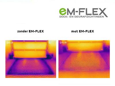 Warmtebeeld zonder en met EM-FLEX afdichting.