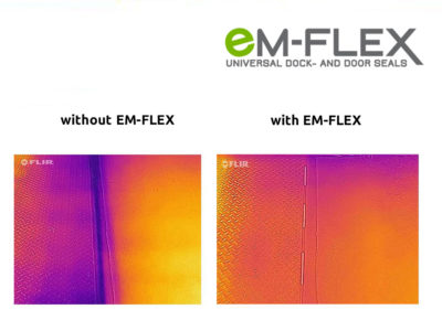Heat image for for dock levellers and loading ramps with and without EM-FLEX gap seal.