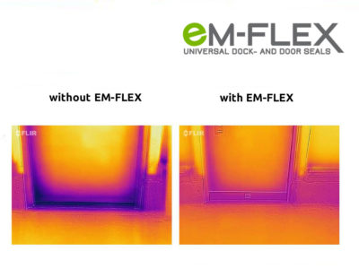 Heat image with and without EM-FLEX gap seal for doors.