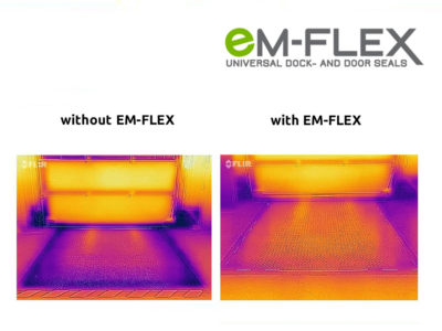 Heat image with and without Em-Flex gap seals for industry gates.