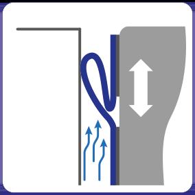 Schematische weergave tochtafdichtend effect van de EM-FLEX kierafdichting voor docklevellers en hefplatforms.