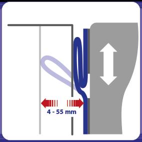 Schematische weergave van de flexibiliteit van EM-FLEX kierafdichting voor docklevellers en hefplatforms..