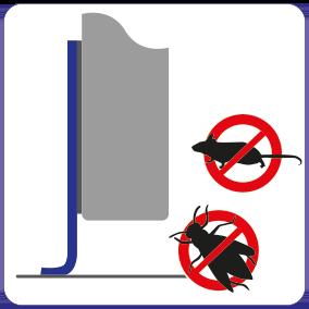 Schematische weergave ongediertebestrijdende werking van EM-FLEX kierafdichting op een schuifdeur.