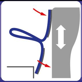 Schematische weergave: magnetische Montage van EM-FLEX afdichting op een schuifdeur