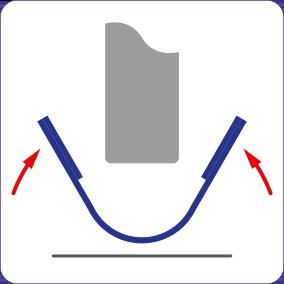 Schematische Darstellung der magnetischen Montage der Spaltabdichtung auch an Türen, die nicht aus Metall sind.