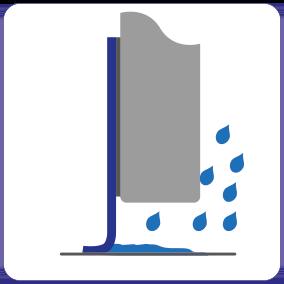 Schematische weergave de waterdichte EM-FLEX kierafdichting voor automatische schuifdeuren.