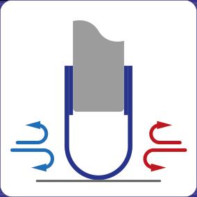 Schematische Darstellung der isolierenden Wirkung der Spaltabdichtung für Türen und Tore.