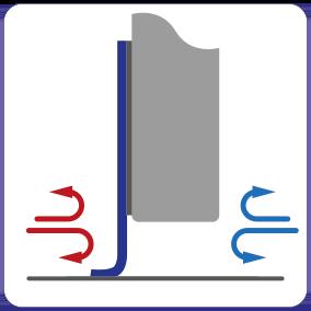 Schematische weergave van het isolerende effect van de EM-FLEX kierafdichting voor schuifdeuren