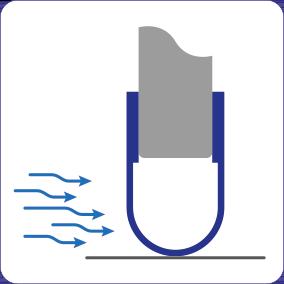 Schematische Darstellung der Zugluft stoppenden Wirkung der Spaltabdichtung für automatische Schiebetüren.