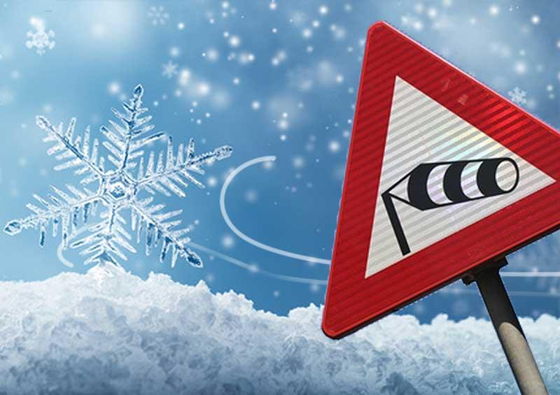"""Illustratie van het woord """"tocht met """"Zugluft"""" met ijskristal en verkeersbord """"Rode gevarendriehoek met windzak"""""""